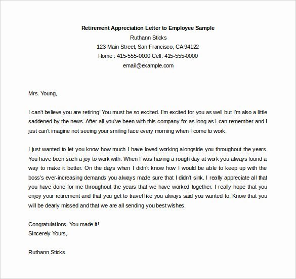 Examples Of Retirement Letters New 36 Retirement Letter Templates Pdf Doc