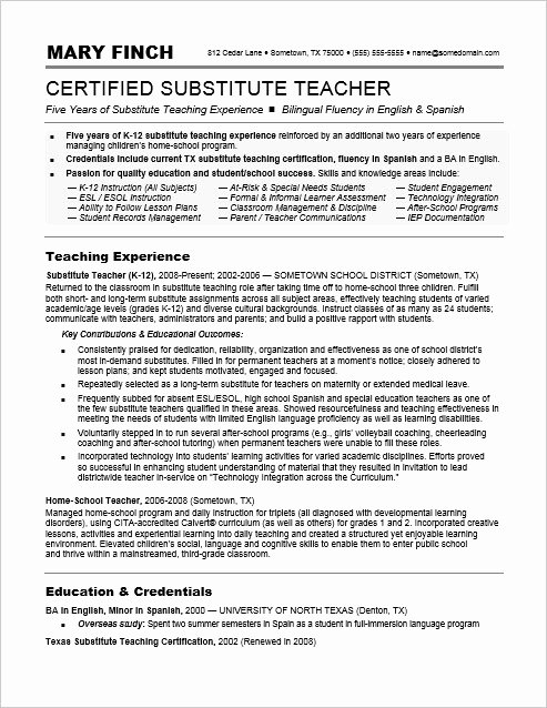 Examples Of Teaching Resumes Awesome Substitute Teacher Resume Sample