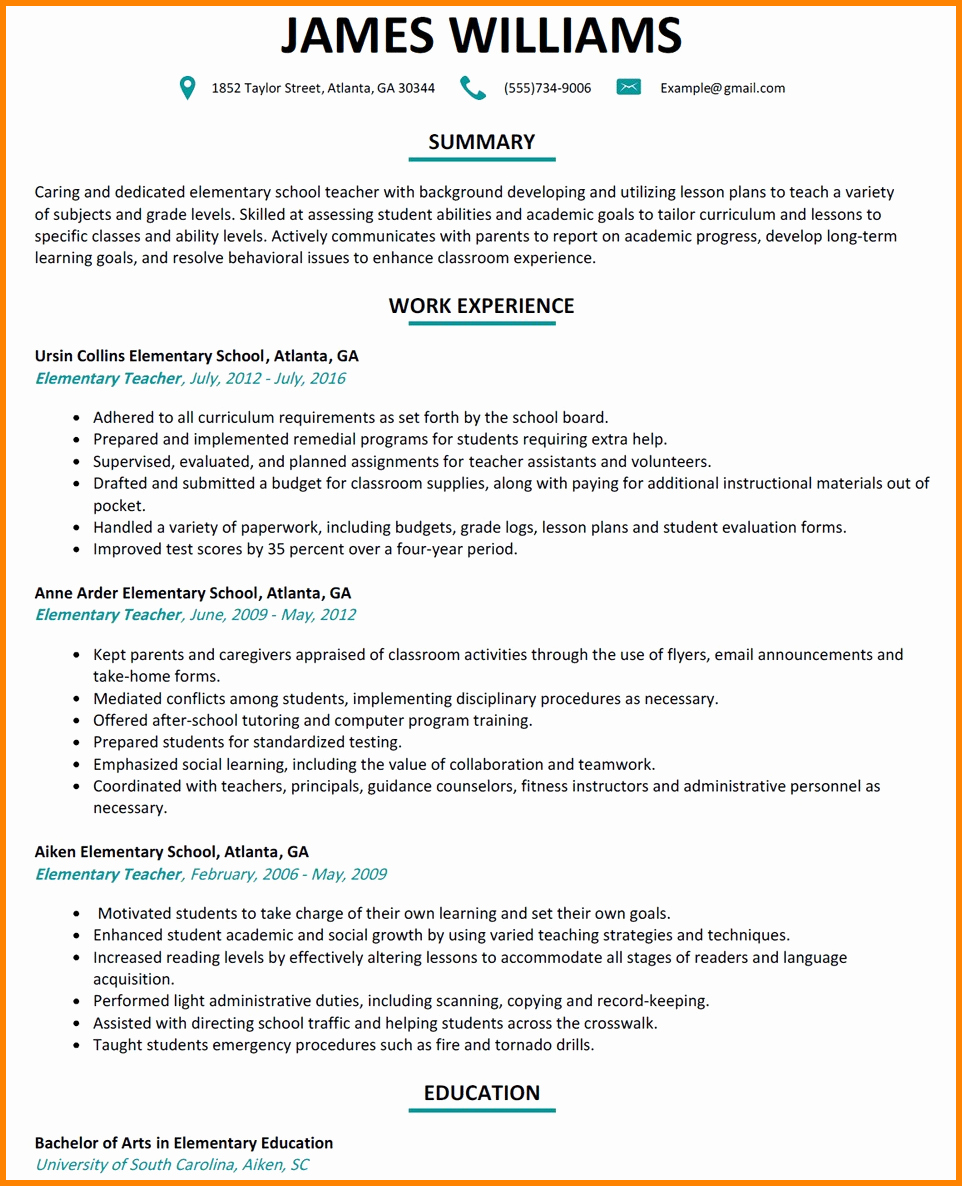 Examples Of Teaching Resumes Best Of 6 Elementary School Teacher Resume