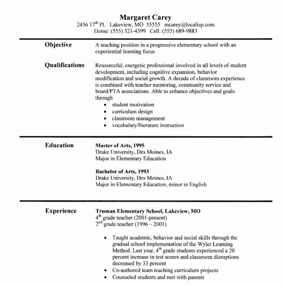 Examples Of Teaching Resumes Best Of Sample Teacher Resumes Teaching