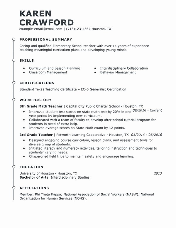 Examples Of Teaching Resumes Fresh Best Teacher Resume Example