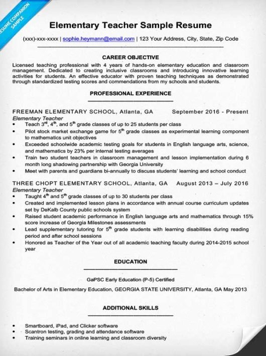 Examples Of Teaching Resumes Fresh Elementary Teacher Resume Sample & Writing Tips