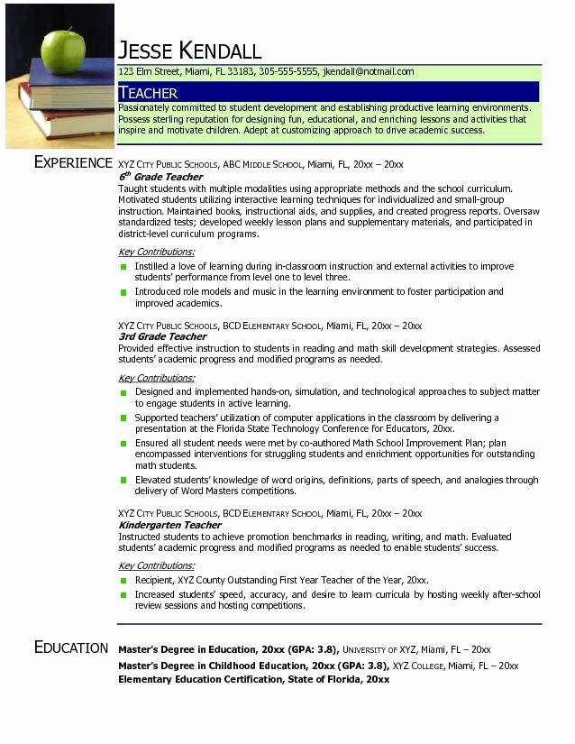 Examples Of Teaching Resumes Inspirational Find Your Best Teacher Resume Samples 2018