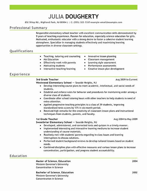 Examples Of Teaching Resumes Lovely Resume Examples Free Resume Example Resource
