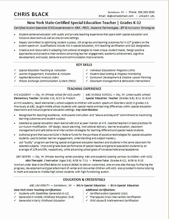 Examples Of Teaching Resumes Lovely Teacher Resume Sample