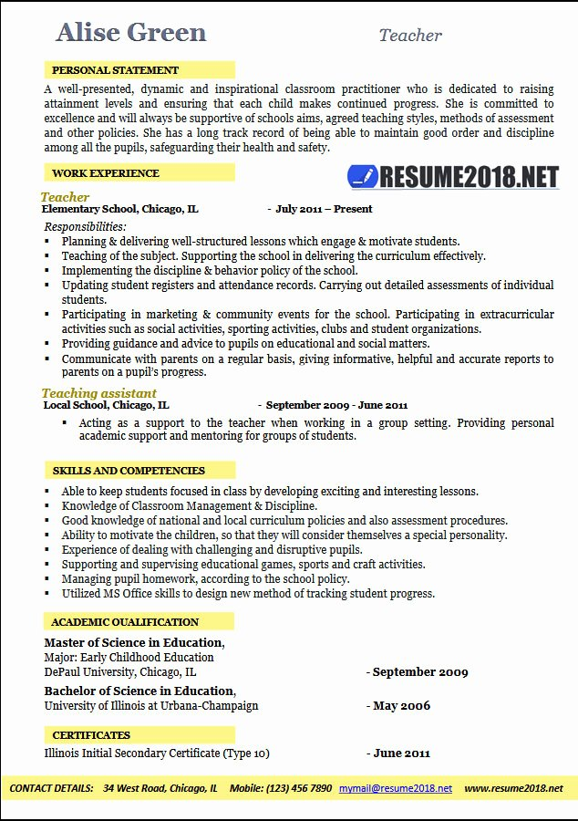 Examples Of Teaching Resumes New Teacher Resume 2018 Examples Resume 2018