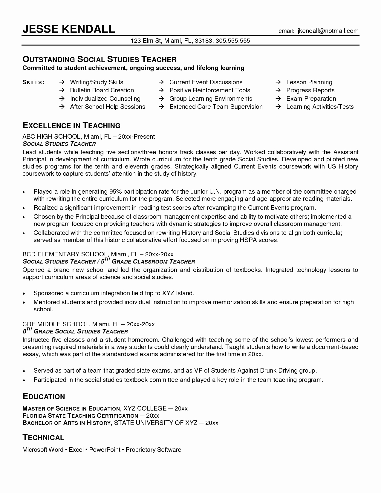 Examples Of Teaching Resumes Unique History Teacher Sample Resume Google Search