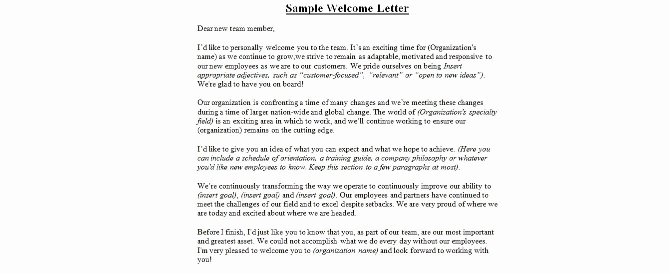 Examples Of Welcome Letters Beautiful Wedding Wel E Letter Sample