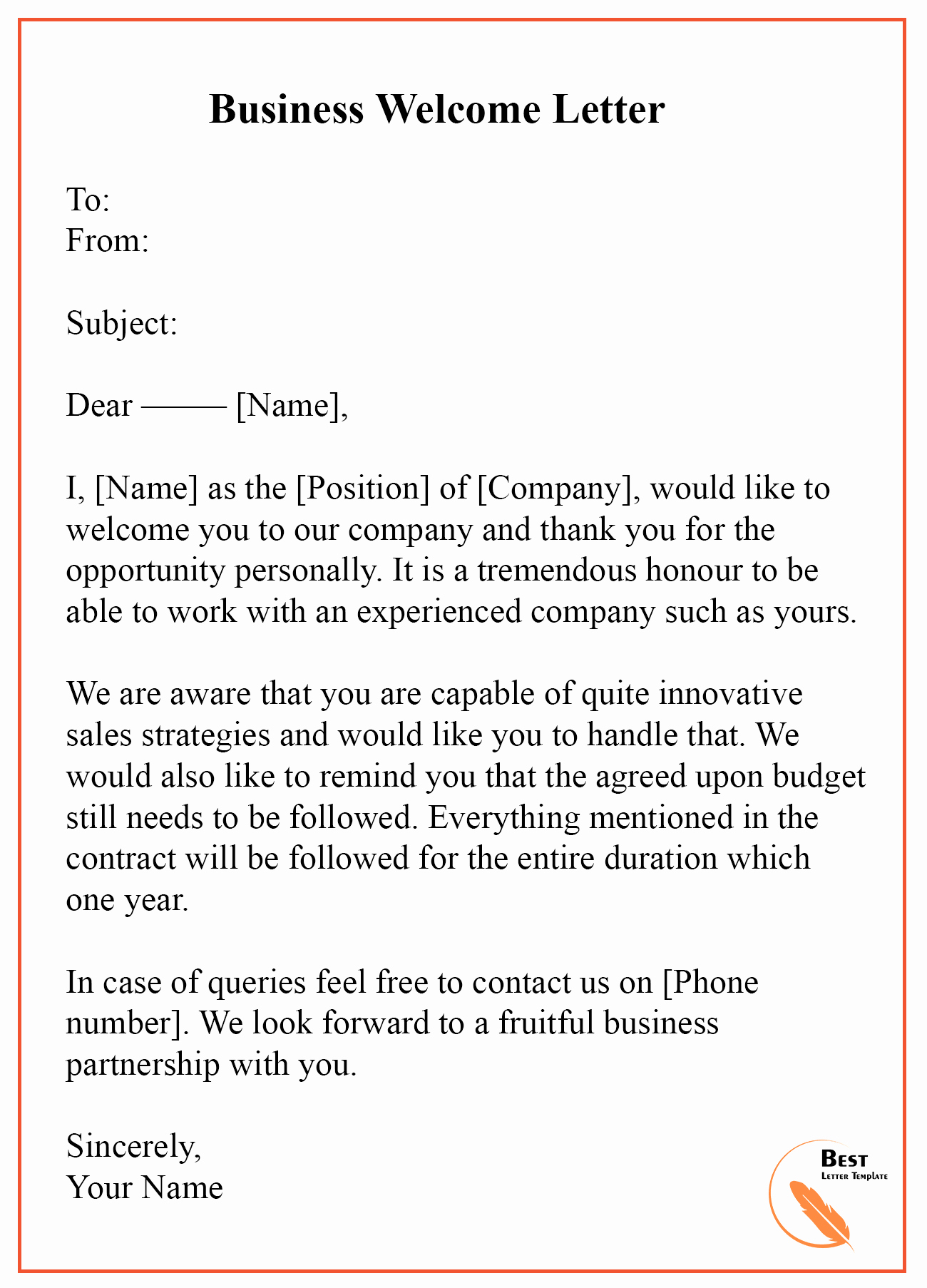 Examples Of Welcome Letters Lovely Wel E Letter Template – format Sample & Example