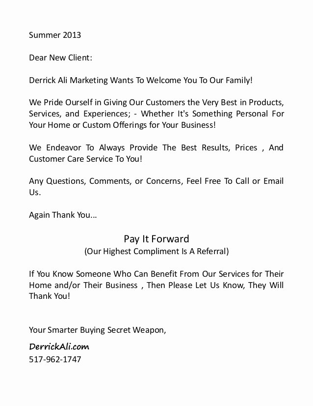 Examples Of Welcome Letters Luxury New Client Infopackage and Wel E Letter