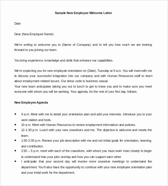Examples Of Welcome Letters New 21 Hr Wel E Letter Templates Doc Pdf