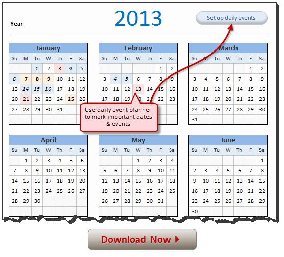 Excel 2010 Calendar Template Best Of Free 2013 Calendar Download and Print Year 2013 Calendar