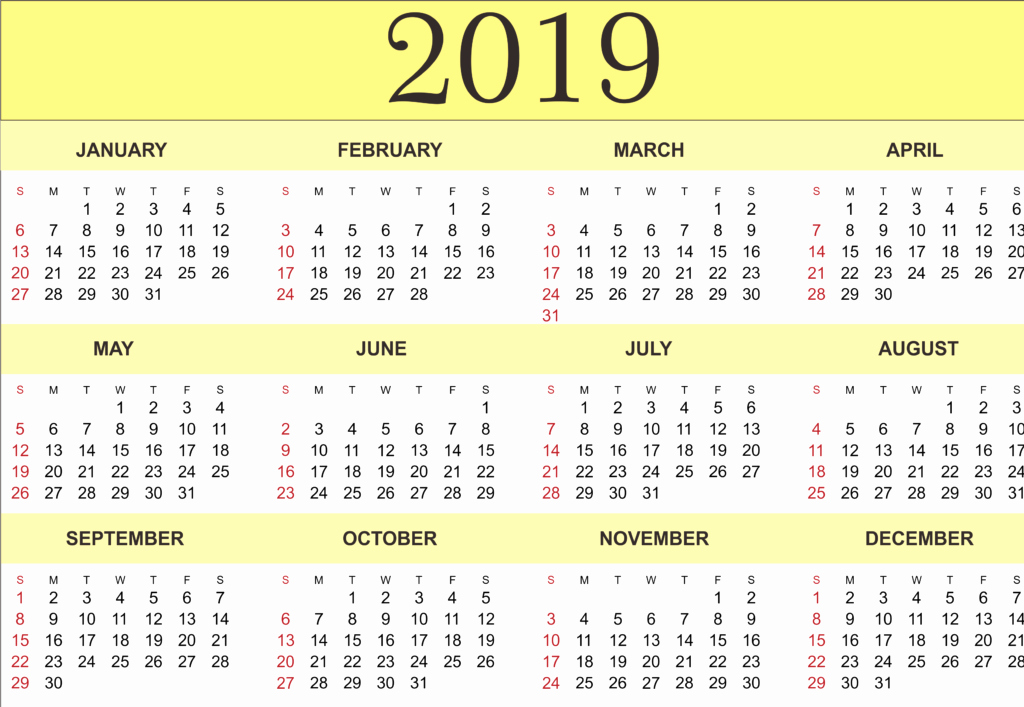 Excel 2010 Calendar Template New 2019 Printable Calendar Templates Pdf Excel Word Free