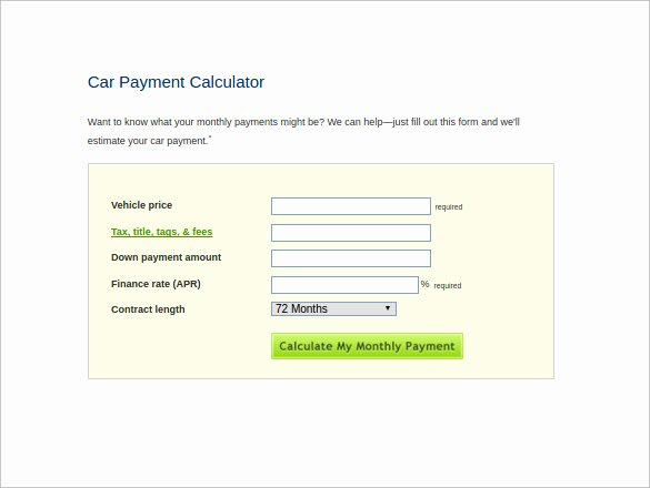 Excel Auto Loan Calculator Fresh Sample Car Loan Calculator 8 Free Documents In Excel