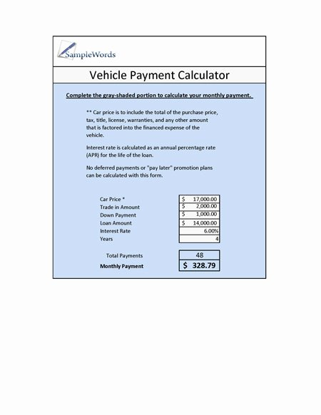 Excel Auto Loan Calculator Lovely Vehicle Loan Calculator Microsoft Excel
