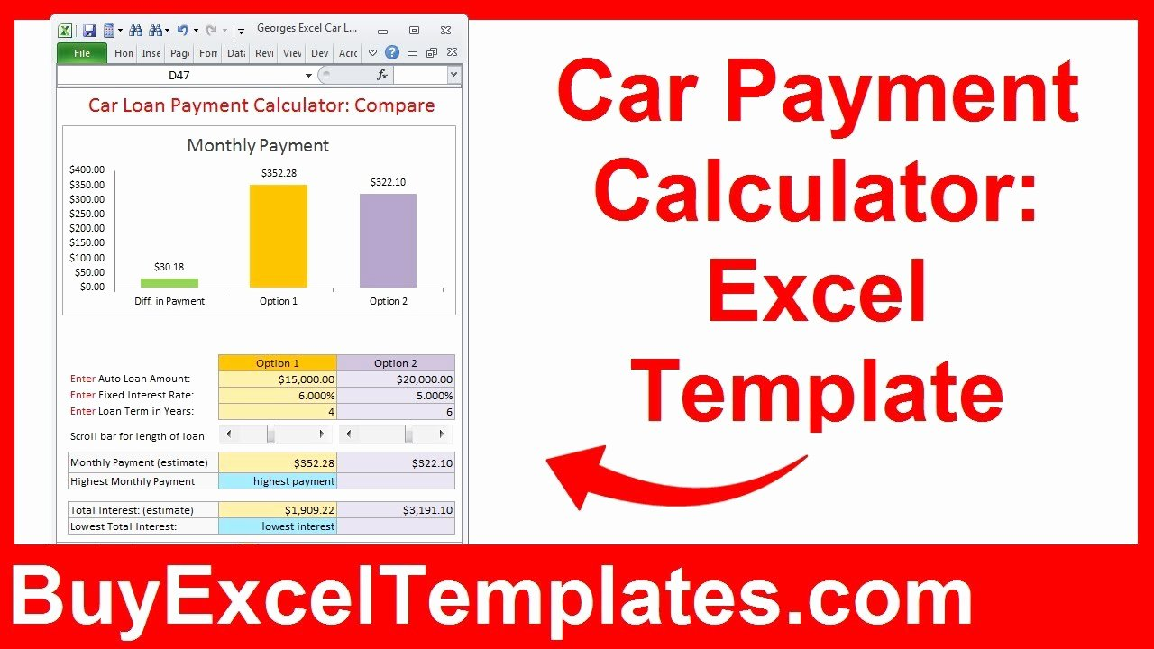 Excel Car Loan Calculator Awesome Car Payment Calculator Calculate Monthly Auto Loan