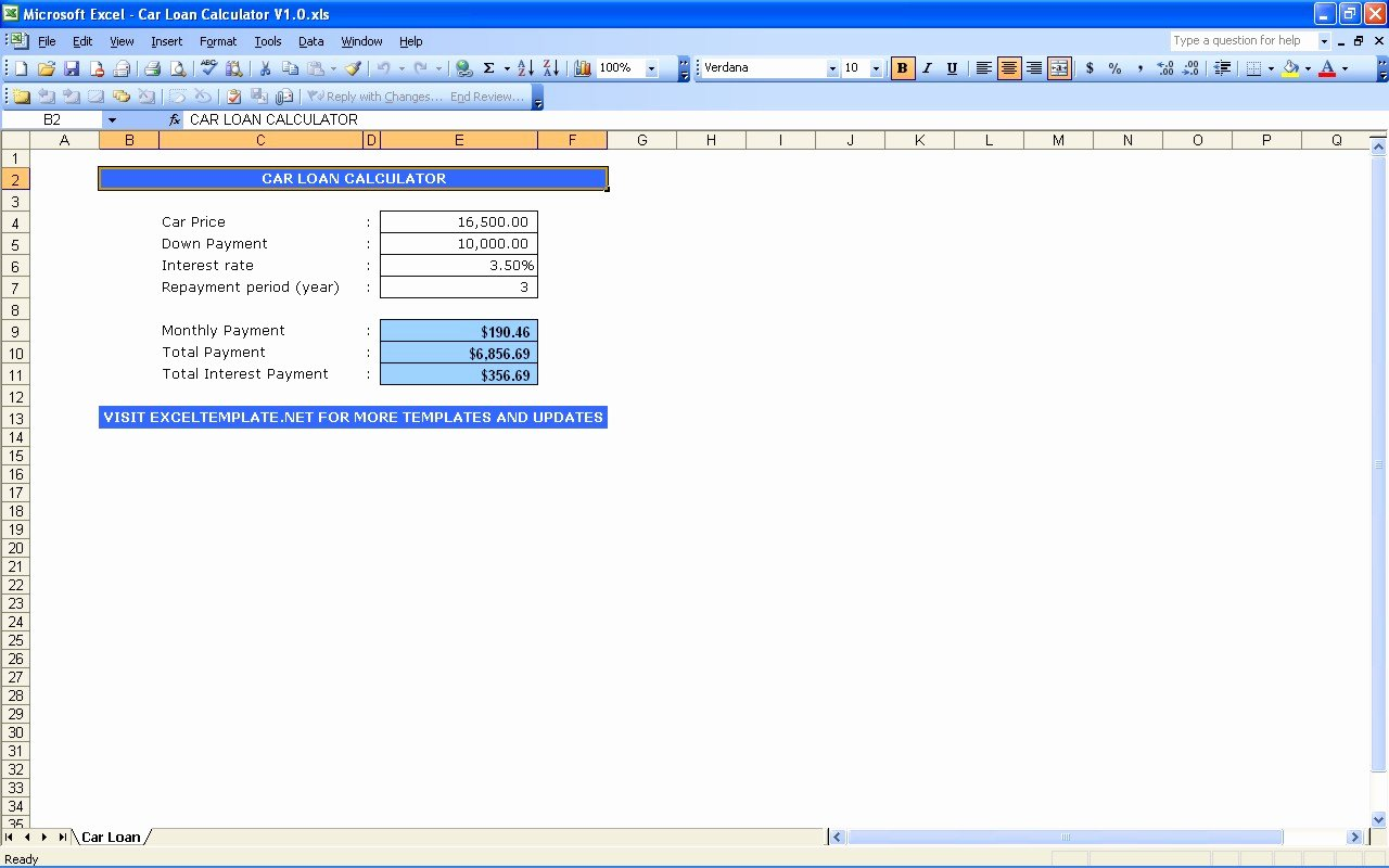 Excel Car Loan Calculator Awesome Credit Card Payoff Calculator