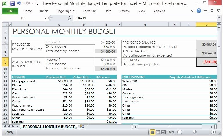 Excel Home Budget Template Inspirational Free Personal Monthly Bud Template for Excel
