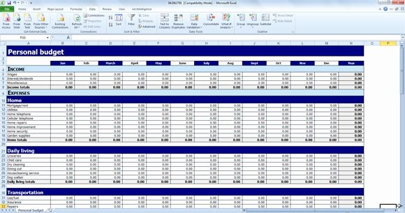 Excel Home Budget Template Luxury Free Personal Bud Template for Excel