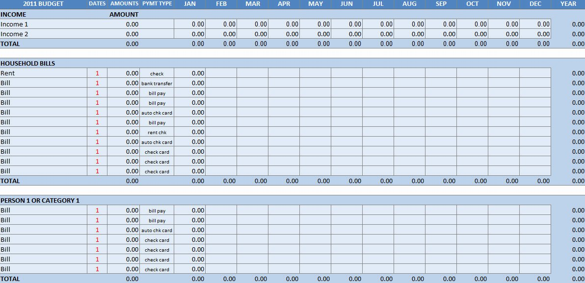Excel Home Budget Template New Household Bud Excel Template