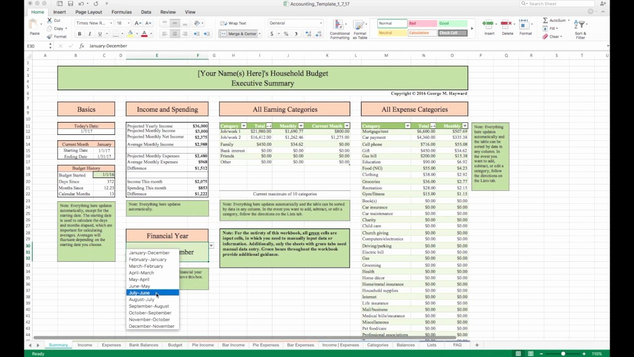 Excel Home Budget Template New Household Bud Template and Tutorial Excel