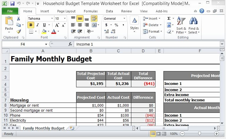 Excel Home Budget Template Unique Household Bud Template Worksheet for Excel