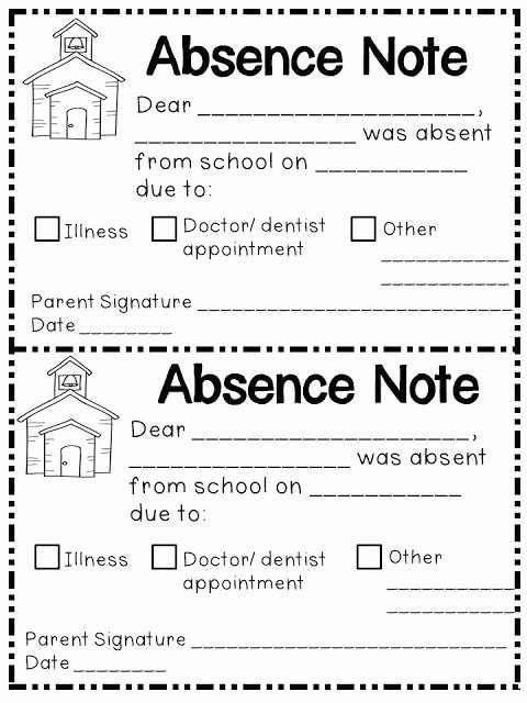 Excuse Note for School Absence Awesome Absence Note Printable Printable