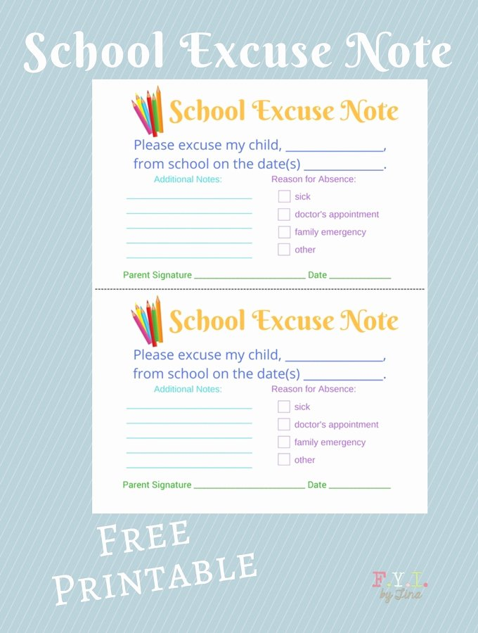 Excuse Note for School Absence Beautiful School Excuse Note Free Printable • Fyi by Tina
