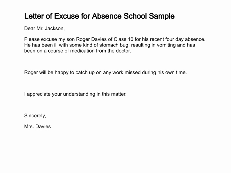 Excuse Note for School Absence Elegant Letter Of Excuse