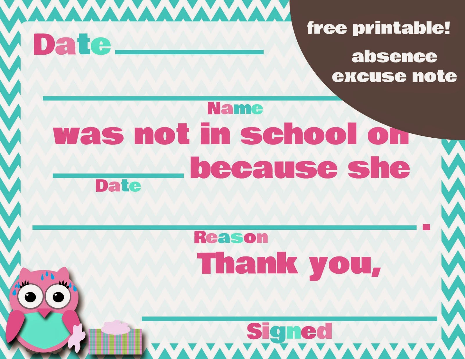 Excuse Note for School Absence Inspirational My Fashionable Designs Free Printable Absence Excuse