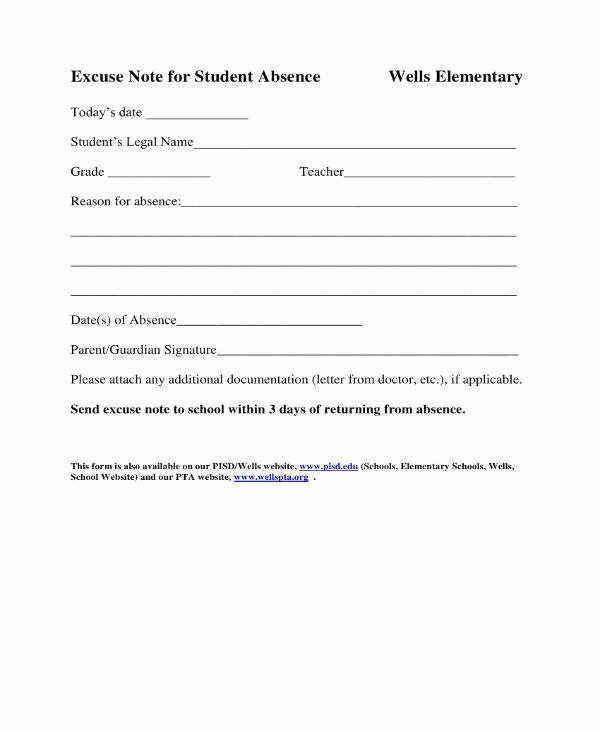 Excuse Note for School Template Beautiful 11 School Excuse Note Templates Pdf