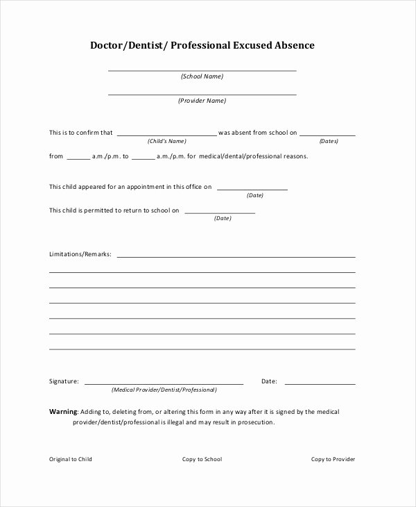 Excuse Note for School Template Beautiful Doctors Note Template for School 6 Free Word Pdf