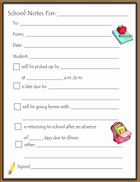 Excuse Note for School Template Beautiful School Note Template – Missmernagh