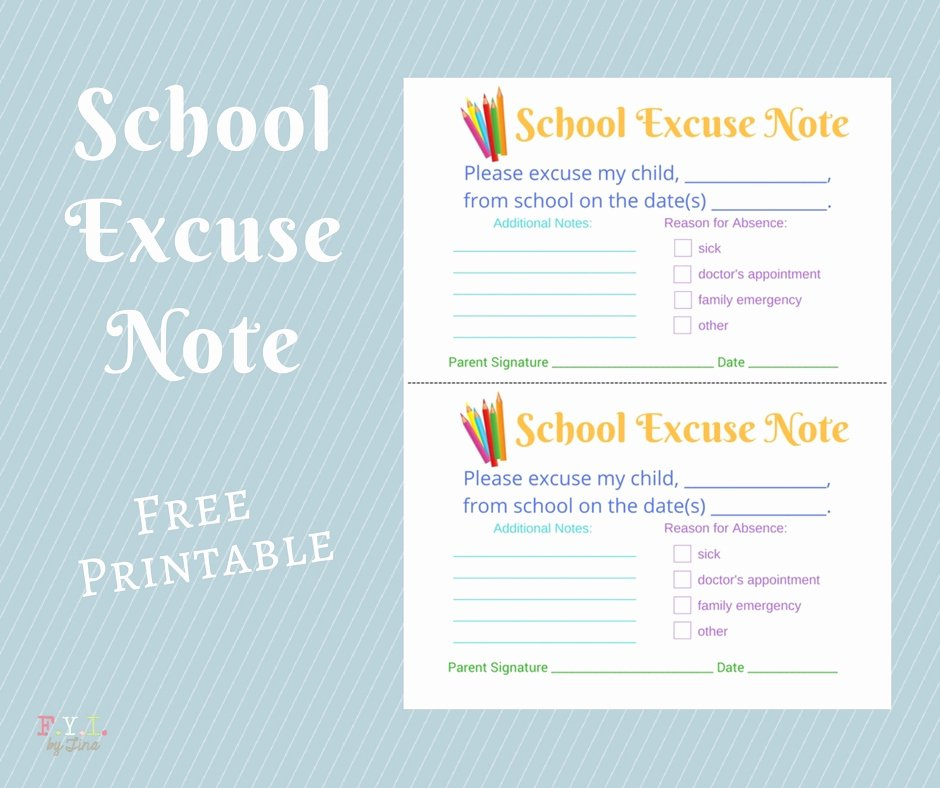 Excuse Note for School Template Best Of School Excuse Note Free Printable • Fyi by Tina