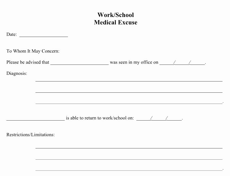 Excuse Note for School Template Elegant 25 Free Doctor Note Excuse Templates Template Lab