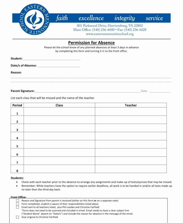 Excuse Note for School Template New 12 Excuse Note Templates for Work & School Pdf