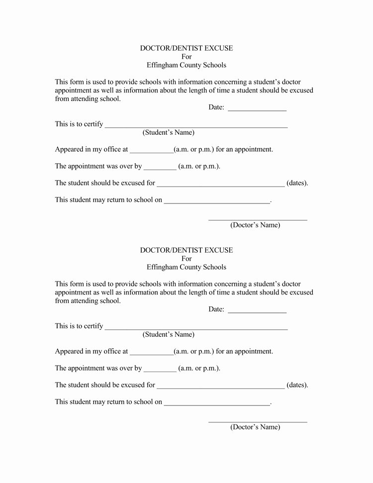 Excuse Note for School Template New 36 Free Fill In Blank Doctors Note Templates for Work