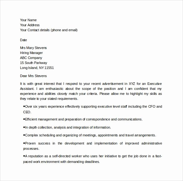 Executive Administrative assistant Cover Letter Awesome Sample Executive assistant Cover Letter 9 Download Free
