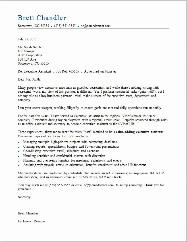 Executive Administrative assistant Cover Letter Beautiful Executive assistant Cover Letter Sample