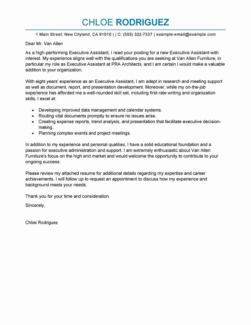 Executive Administrative assistant Cover Letter Best Of Best Executive assistant Cover Letter Examples