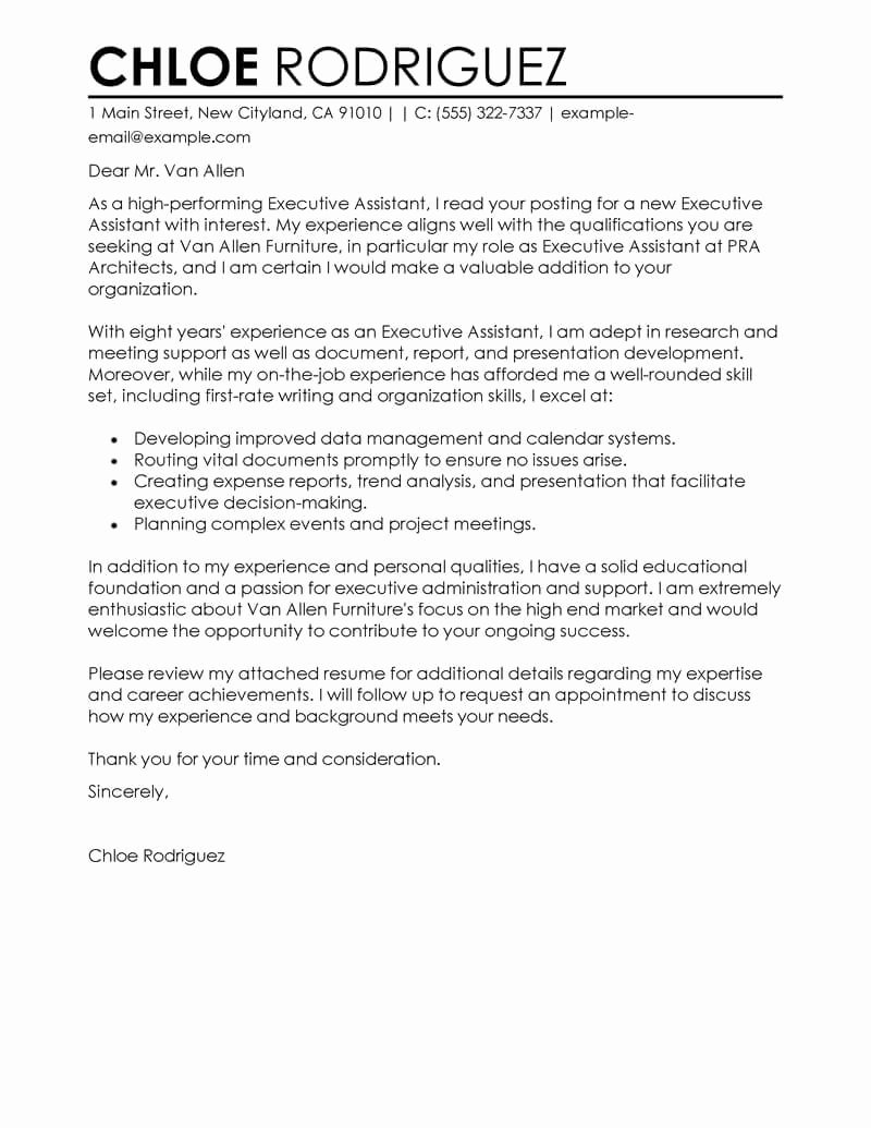 Executive Administrative assistant Cover Letter Lovely Best Executive assistant Cover Letter Examples