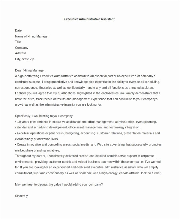 Executive Administrative assistant Cover Letter Lovely Sample Administrative assistant Cover Letter 7 Free
