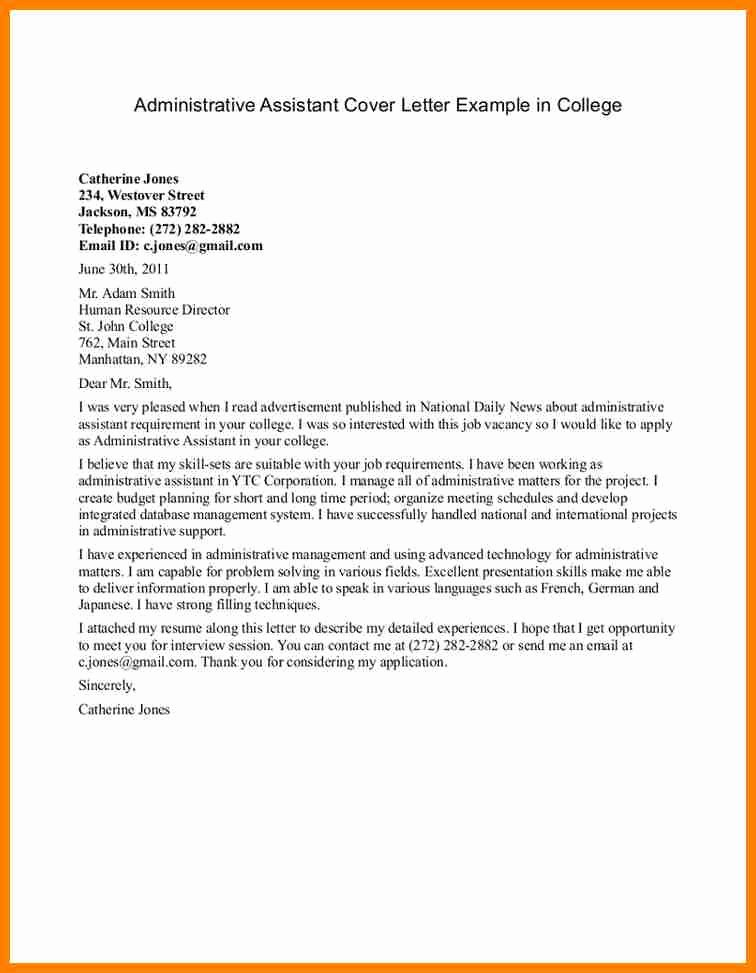 5 cover letter example for administrative assistant