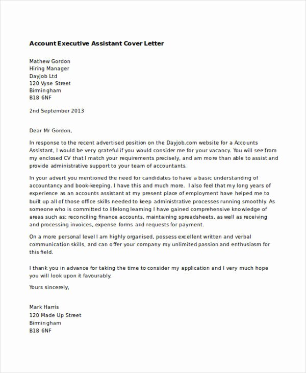Executive Administrative assistant Cover Letter New Executive assistant Cover Letters 9 Free Word Pdf