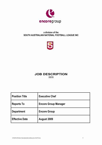 Executive sous Chef Job Description Awesome Job Description Position Casual sous Chef Responsible to