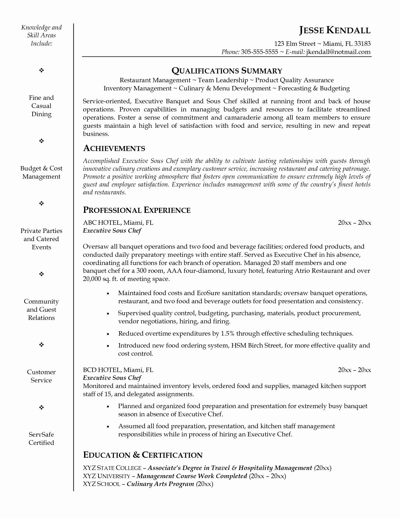 30 Executive sous Chef Job Description | Example Document ...
