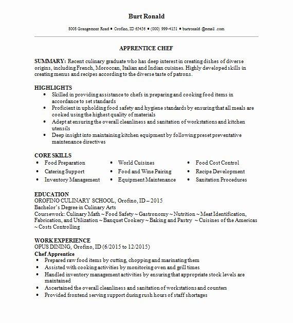 Executive sous Chef Job Description Best Of Apprentice Chef Resume Template 2