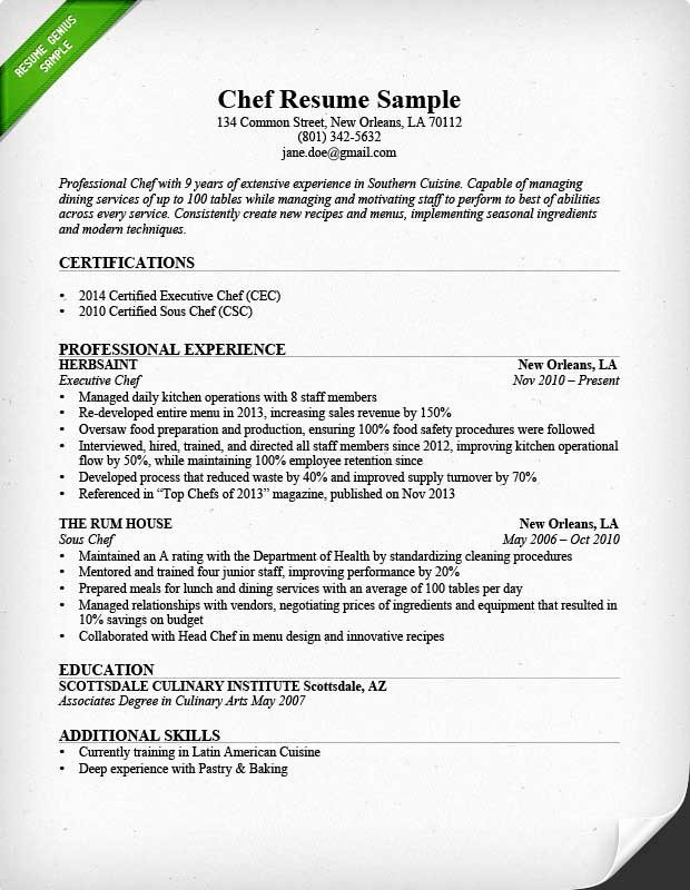 Executive sous Chef Job Description Fresh Chef Resume Skills Resume Sample
