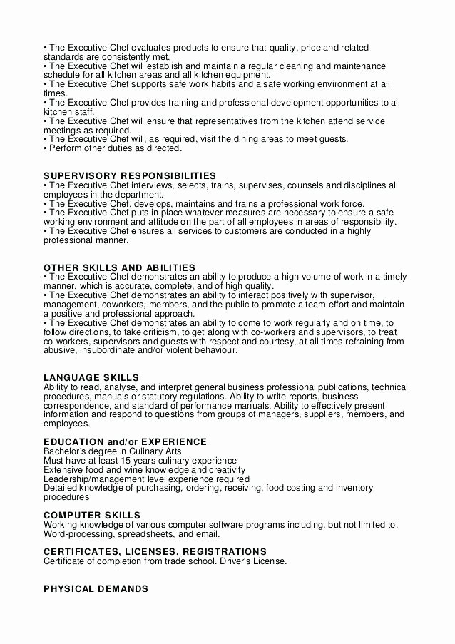 Executive sous Chef Job Description Luxury Resume Template Law Resume Examples
