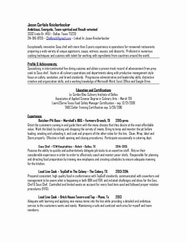 Executive sous Chef Job Description New Jason Carlisle Knickerbocker sous Chef Resume 2015
